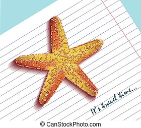 Starfish on a notebook. It's travel time text. Vector