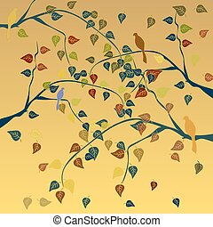 Autumn tree with leaves