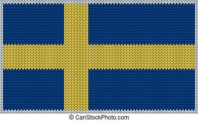 Design of knitted badge of Sweden - SWE, SW - flag. National...