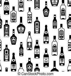 Alcohol drinks seamless pattern. Bottles for restaurants and...