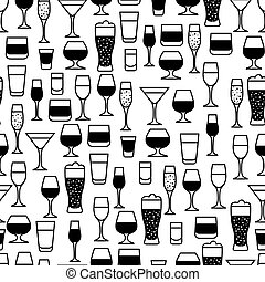 Alcohol drinks seamless pattern. Glasses for restaurants and...