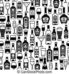 Alcohol drinks seamless pattern Bottles, glasses for...