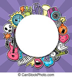 Music party kawaii background. Musical instruments, symbols and objects in cartoon style