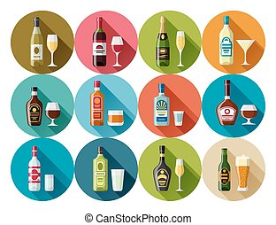 Alcohol drinks icon set. Bottles, glasses for restaurants...
