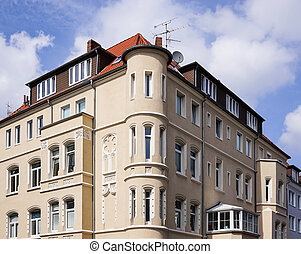 restored historicist building with bay windows in Hannover...