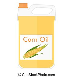 Illustration of a bottle with corn oil