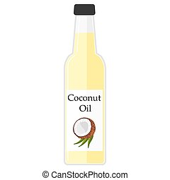 Illustration of a bottle with coconut oil