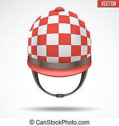 Classic Jockey helmet - Classic Red Checkered Jockey helmet...