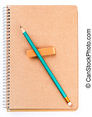 Notebook with pencil and an eraser