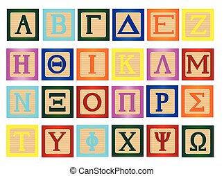 Block Letter In Greek - A collection of wooden block letters...