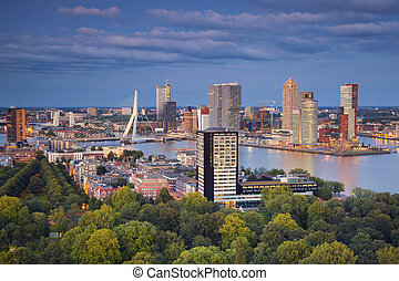 Rotterdam - Image of Rotterdam, Netherlands during twilight...
