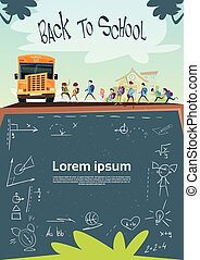 Schoolchildren Group Go To Schoolbus Class Board Banner Flat...