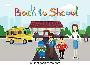 Schoolchildren Teacher Over Schoolbus School Building...