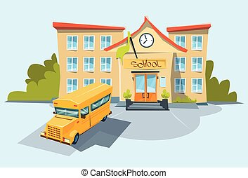 School Exterior Yellow Bus Flat Vector Illustration