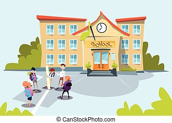 Schoolchildren Group School Building Exterior Flat Vector...