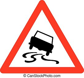 Vector triangle traffic sign for slippery road