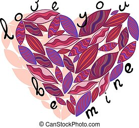 Pink vector heart from leaves Love you, be mine - Pink heart...