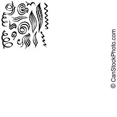Spiral curls and sketched abstract lines. Hand-drawn doodle maked by calligraphy pen.