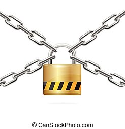 Warning Padlock and Metal Chain. Vector