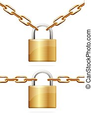 Golden Chain and Padlock. Vector