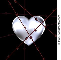 locked iron heart - dark background and the big iron heart...
