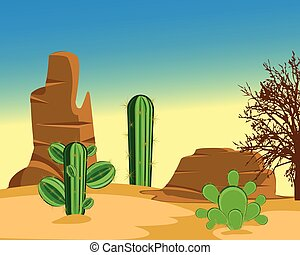 Desert with cactus - The Prickly cactuses in hot desert...
