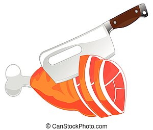 Cutlass and meat ham - The Knife for chopping of meat and...