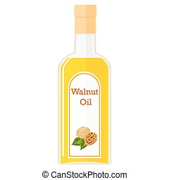 Illustration of a bottle with walnut oil