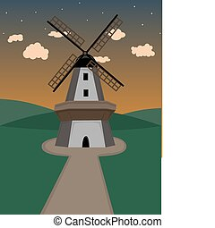 Windmill in hilly field at dusk - Traditional windmill at...