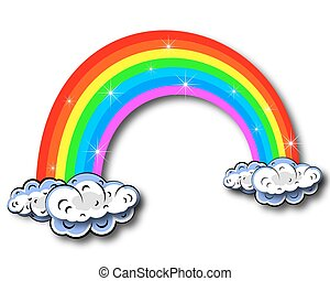 The image of the rainbow with cloud