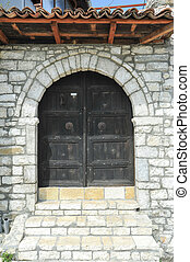 The front door of a house on the citadel of Kala over Berat