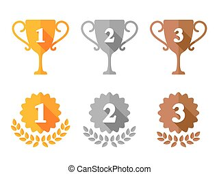 Trophy Cup and Award Medals Icons