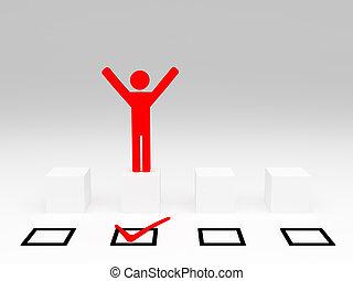 easy winner - red winner model and chech mark selection on...