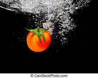 Tomato Splash in Water, Black Bacground - Tomato Splash in...