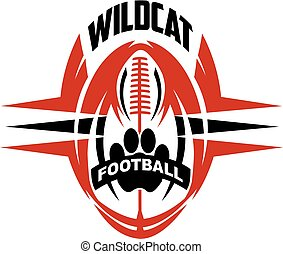 wildcat football team design with paw print for school,...