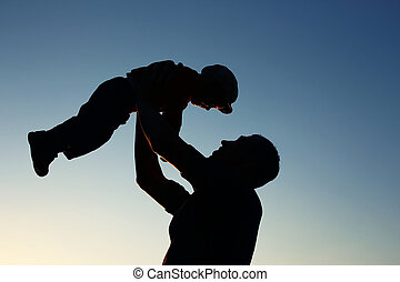 silhouette of father and son - very nice silhouette of...