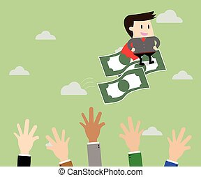 Businessman riding flying money and Business...