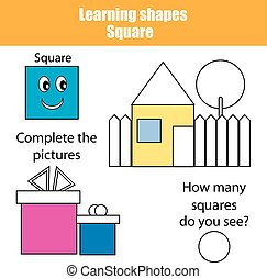 Educational children game, kids activity. Learning shapes, square
