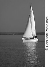White sailboat on Lake Balaton - White Sailboat near...