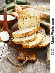 Bread with zucchini and onion - Slices of vegetable bread...