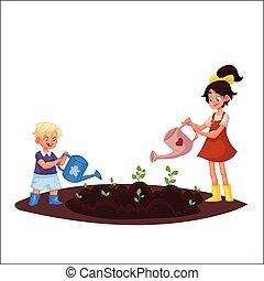Kids watering plants in the garden