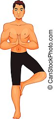 handsome young man in various poses of yoga