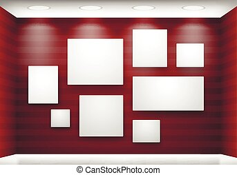 Gallery empty frames on red wall with lighting