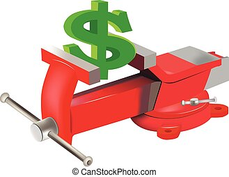 dollar symbol in the grip - vise fixed table that holds a...
