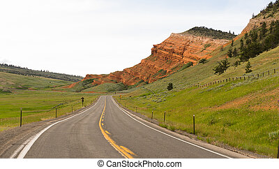 Two Lane Road Yellowstone National Park Wyoming United...
