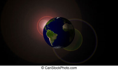 Earth spinning with flare on back