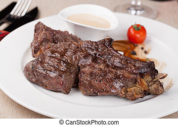ribeye steak - grilled ribeye steak on an plate