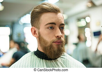 Attractive man - Young man in a barber shop