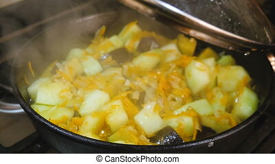 Vegetables stirred in a pan. - Vegetables stirred in a pan...