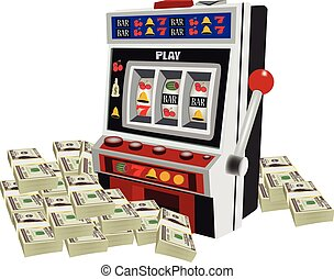 slot machine game machine with currency heap payout